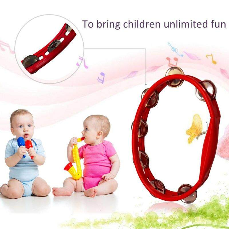 ERA Orffworld Plastic Tambourine Hand Shaker Rattle Ring Kid Percussion Instrument - intl