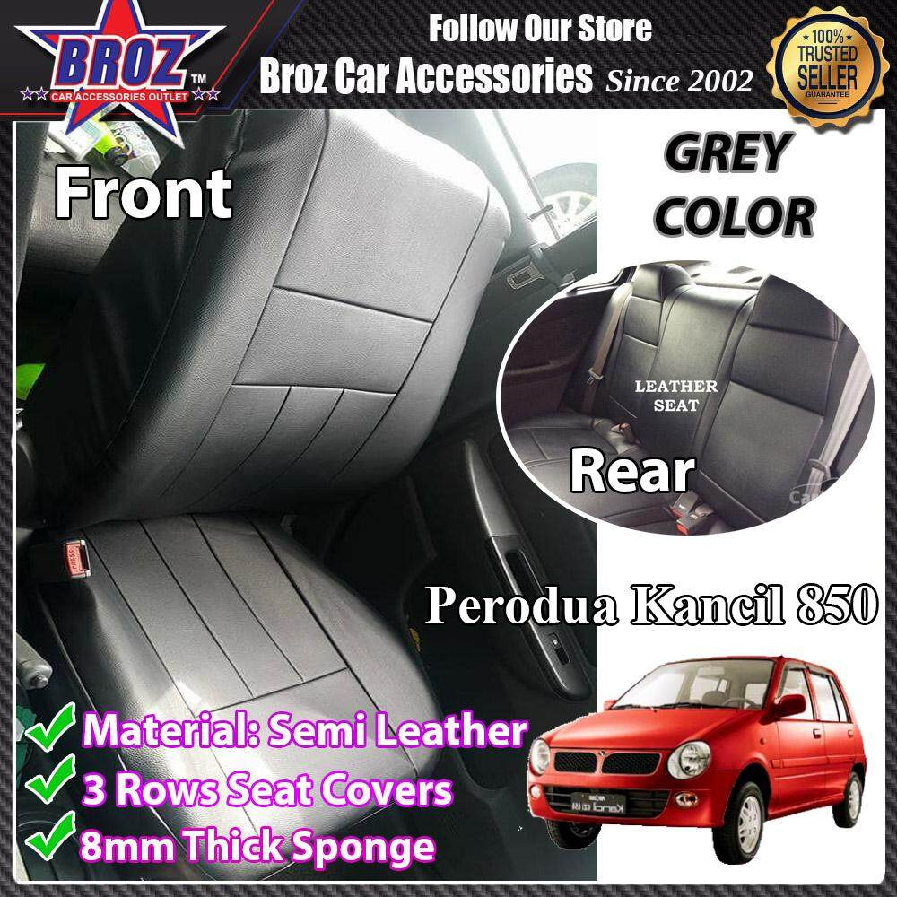 Broz Car Seat Cover Case Semi Leather Perodua Kancil 850 Old / New Front and Back - Grey