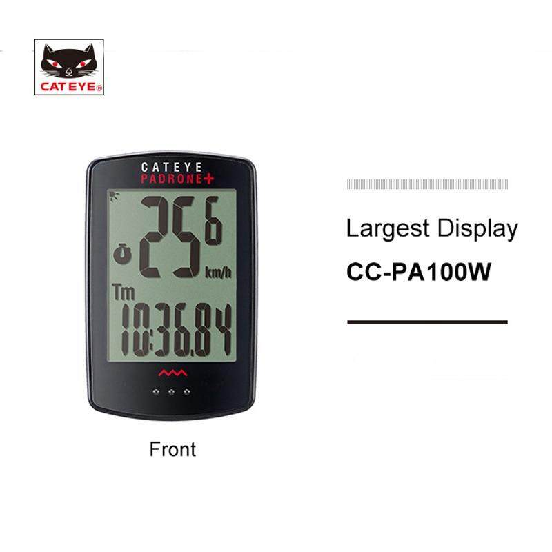 CATEYE CC-PA100W Bicycle Computer Wireless Padrone+ Largest Display Cycling Backlight Speedometer Include Speed Sensor