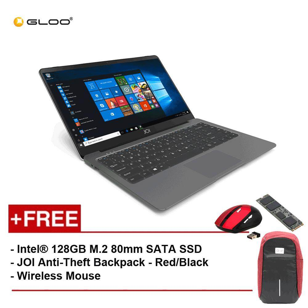 JOI Book 100 A147G 14 FHD (Cel N3450, 4GB, 32GB, Intel HD 500, W10) - Dark Grey [Free Intel® 128GB M.2 80mm SATA SSD + JOI Anti-Theft Backpack - Red/Black + Wireless Mouse] Malaysia