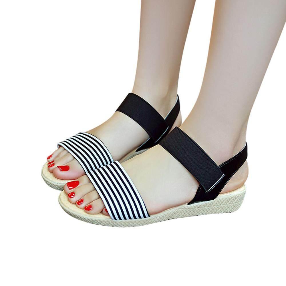 cef28dc18c8a Fashion Women Stripe Flat Heel Anti Skidding Beach Shoes Sandals Slipper