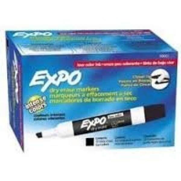 Expo 80001 Bau Rendah Pahat Point Penghapus Cepat Kering, Bau Rendah Alkohol Tinta Dirancang untuk Papan Tulis, kaca dan Paling Tidak Berpori Permukaan Hitam, 12 Unit Per Kotak, Pak 2 Kotak 24 Spidol Total-Intl