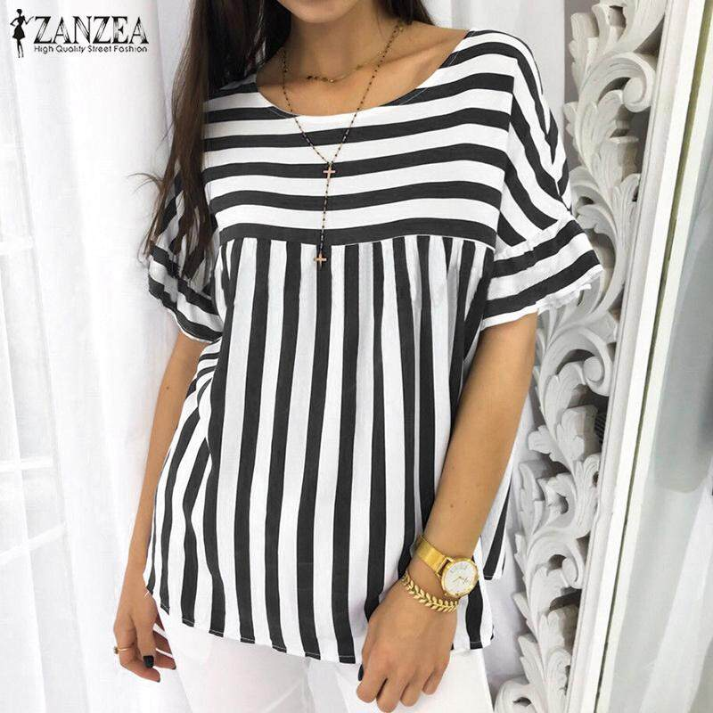 ZANZEA Women Casual Short Sleeve Blouse Tee T Shirt Pullover Loose Retro Striped Top