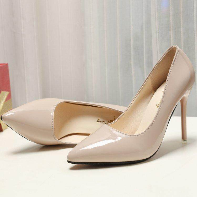 2018 Spring New Style Patent Leather Hipster Pointed High Heel Shoes Thin  Heeled Shallow Mouth 10cm 6e06e72d8b