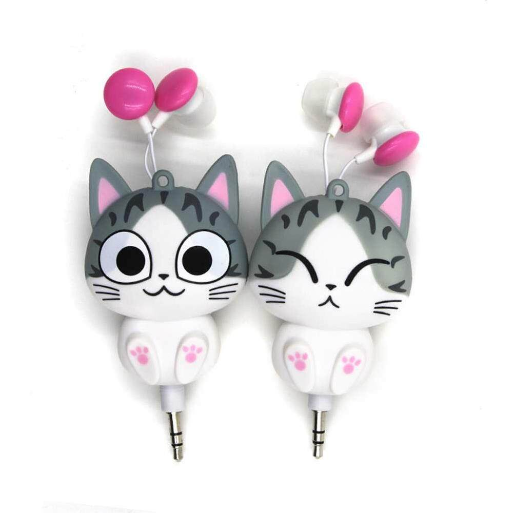 2aa7504c576d2a Ytri New Cute Earphone Cheese Cat Cartoon Automatic Retractable Headphones  for Mobile
