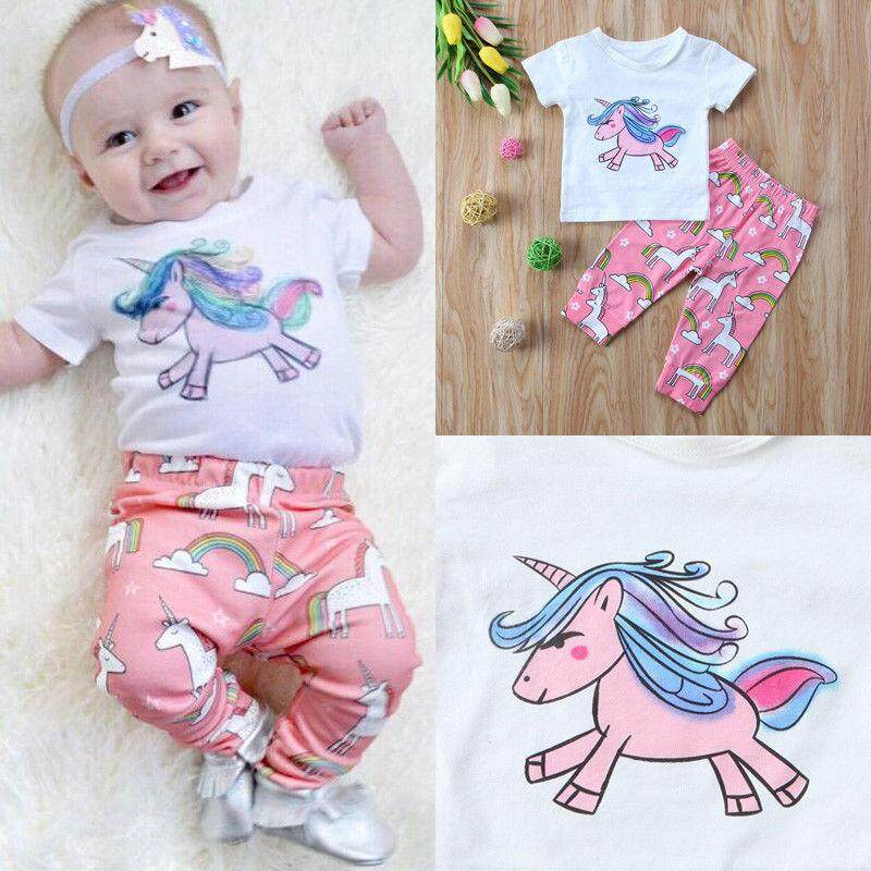 46e902cdb63 Cute Newborn Toddler Baby Girls Casual Unicorn Short Sleeve Top T shirt  Pants Cotton Outfits Clothes