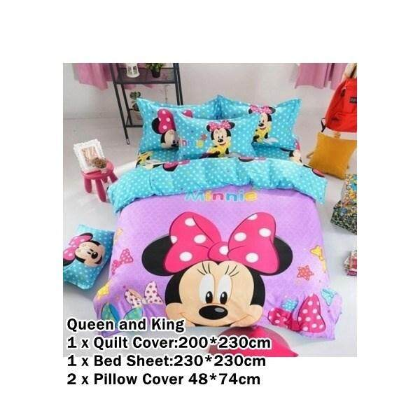CUTE CARTOON BED SHEET MINNIE 2 DESIGN (FITTED) King Size Bed