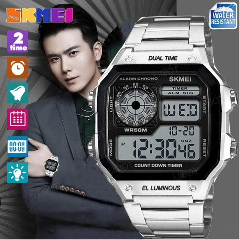SKMEI New Men Sports Watches Count Down Waterproof Watch Stainless Steel Fashion Digital Wristwatches Male Clock 1335 Malaysia