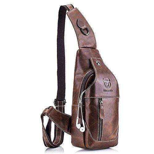 QUORA Men Genuine Leather Business Casual Brown Black Shoulder Crossbody Bag as Christmas Gift - intl