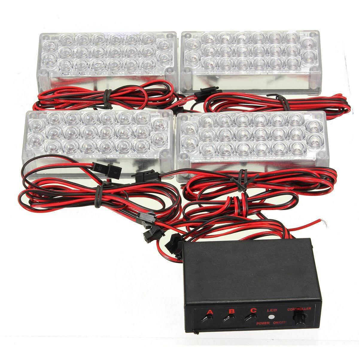 4X22 LED Kedip Darurat Lampu Peringatan Grill Lampu Strobo 12 V Putih-Intl