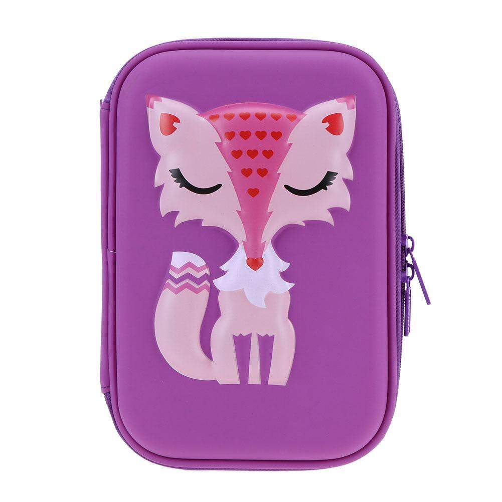 Cute Cartoon Fox Pattern Large Capacity Pencil Pen Case Holder EVA Stationery - intl