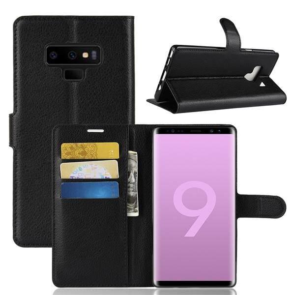 Telepon Case untuk Samsung Galaxy Note 9 Kulit PU Litchi Grain Tahan Gores Dompet Case dengan Slot