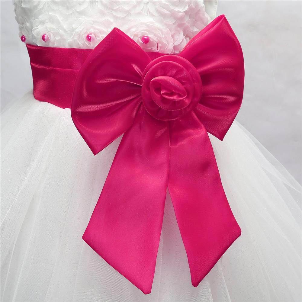Teresastore Flower Girl Princess Bridesmaid Pageant Tutu Tulle Bow Gown Party Wedding Dress - intl