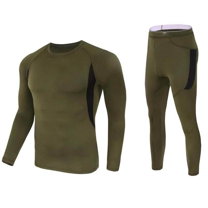 Hangat Bernapas Elastisitas Bulu Panas Pakaian Dalam Panjang Sleeves Kaus Celana Set Olahraga Pakaian untuk Pria Wanita Warna: hijau Tentara Ukuran: XXL-Internasional