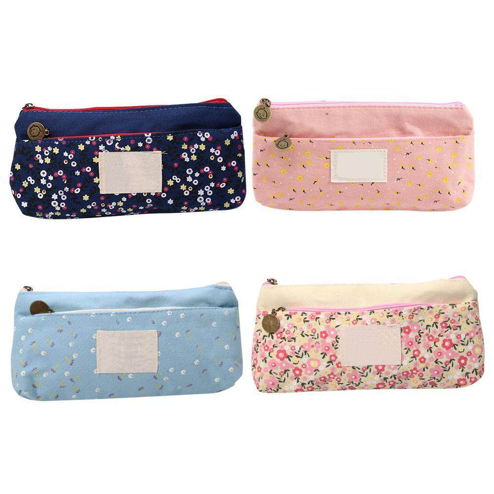 Aolvo 4pcs School Pencil Bag Pencil Pouch Double Zipper Cosmetic Bags Office Stationery Canvas Pencil Case,18.5*11*2cm By Aolvo.