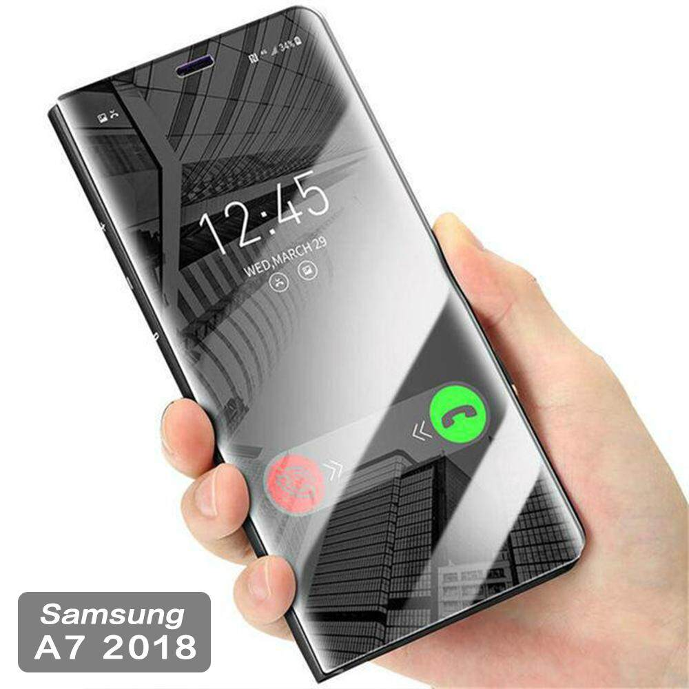 Fitur For Galaxy J4 2018 Flip Cover Luxury Plating Smart Case Clear