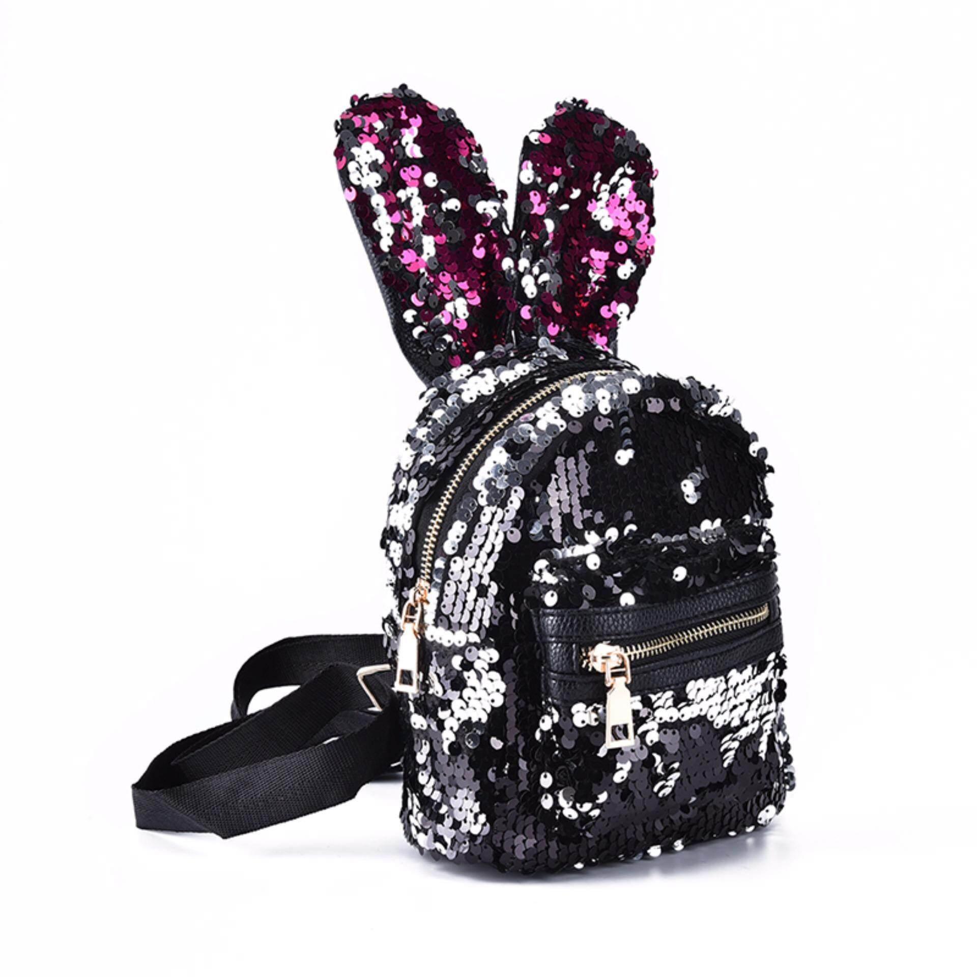 a2520d7aad Shinning Bling Sequins Cute Big Rabbit Ears Backpack Girls Women Mini  Travel Bag Black Powder