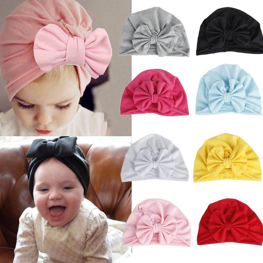 b46bcba6 8 Color Soft Toddler Kids Baby Girl Boy Knotted Beanie Turban Style Hat  Solid