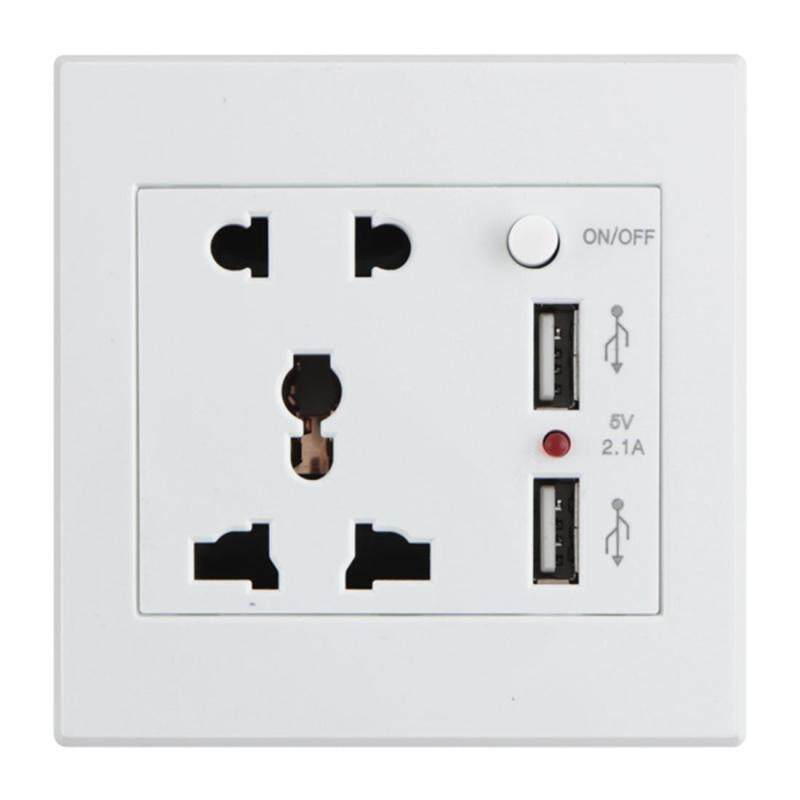 Universal 2.1A 5V Dual USB Wall Socket Wall Charger AC/DC Power Adapter Plug Outlet Panel - intl