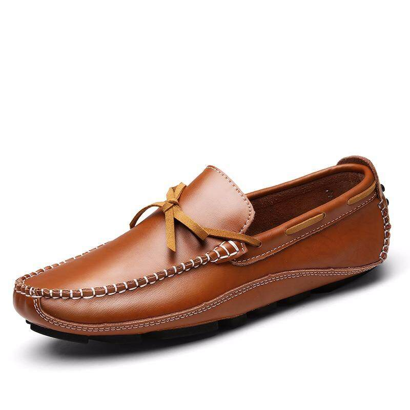 Natural Leather Boat Shoes Mens Top Sider Driving Shoes British Style Casual Moccasins Flats - intl