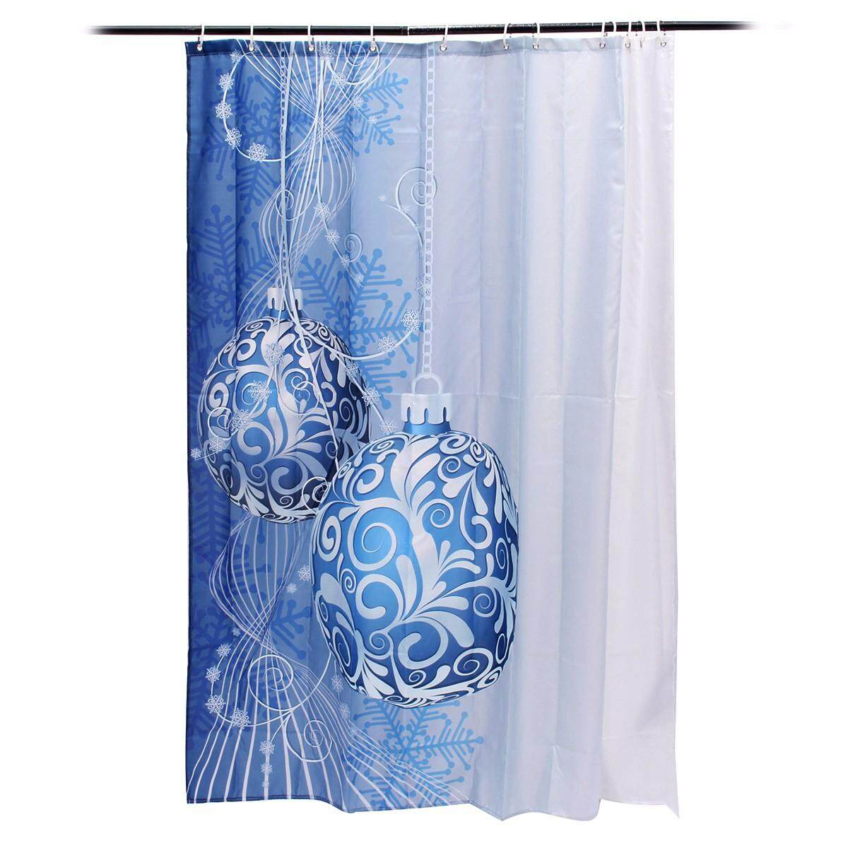 180x180cm Christmas Xmas Blue Hanging Ball Ornament Bathroom Shower Curtains With Hooks Ring By Glimmer.
