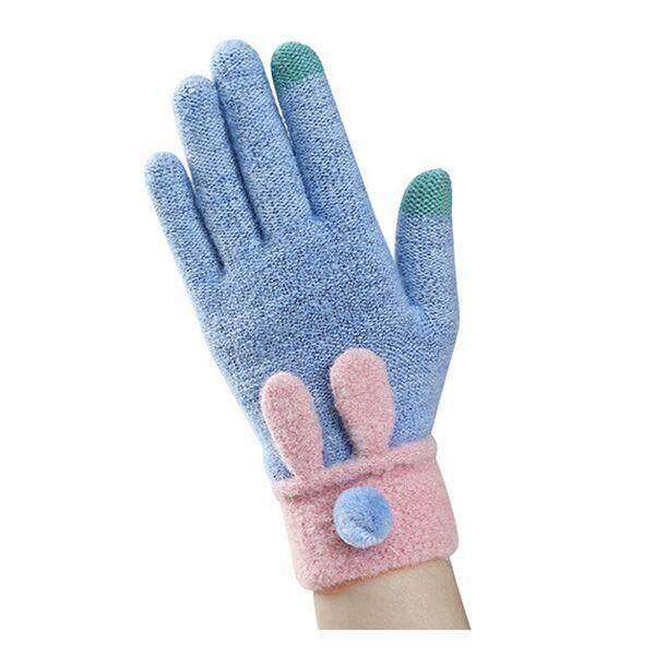 d7b04dc730412 China. Lady fashion knitted winter gloves plus plush warm gloves C sea blue  - intl
