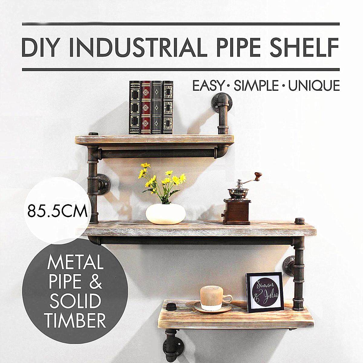 Industrial Pipe Wall Shelf Rustic Bookcase Storage Shelf Wood Shelving DIY 3 Tie