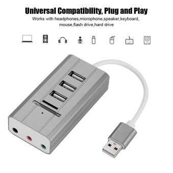 การส่งเสริม All in One External Audio USB Sound Card HUB Card Reader Adapter Audio Interface (USB Grey) hot deal - มีเพียง ฿413.00