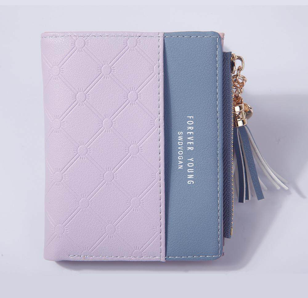 New Tassel Zipper Purse Pink Womans Wallet Double Color Leather Wallets For Euro Card Holder Money Bag For Girls Women Wallet By Kerry Trading.