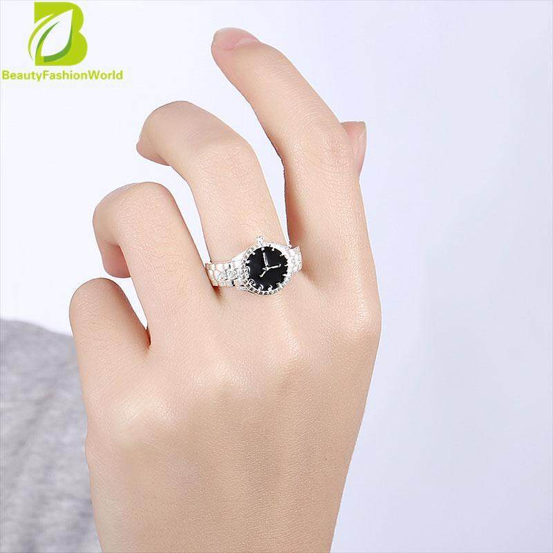 Creative Women Quartz 925 Silver Finger Ring Watch Alloy Personality Gift By Beautyfashionworld