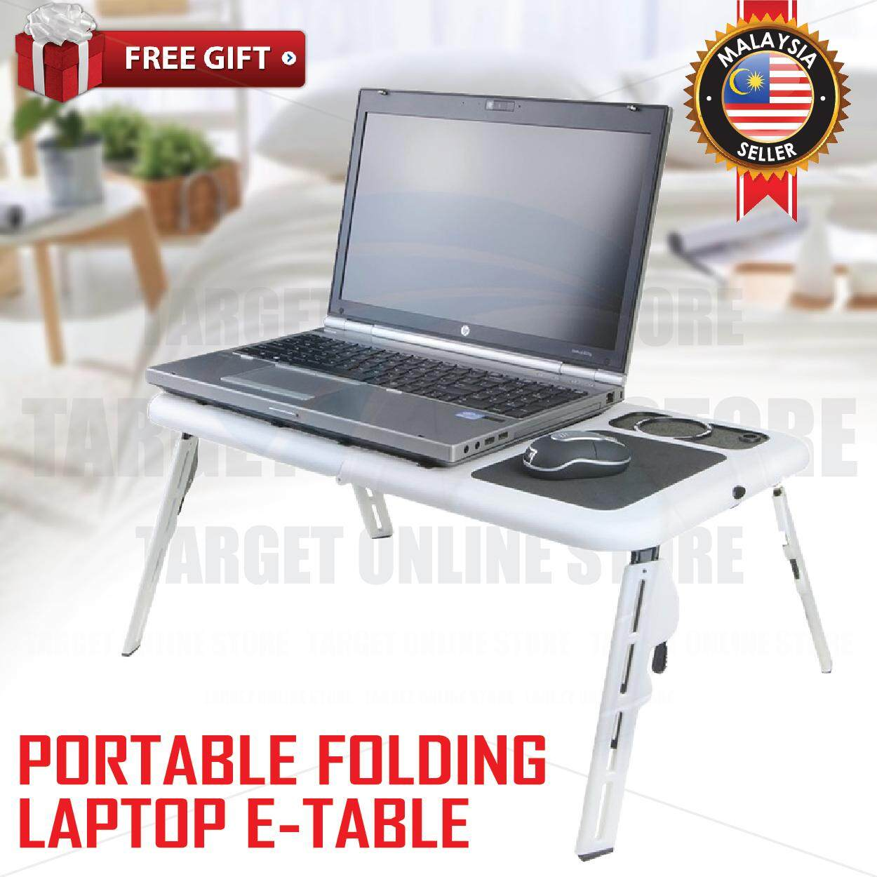 Portable Folding Adjustable E-Table Laptop Table Bed USB Cooling Fan Malaysia
