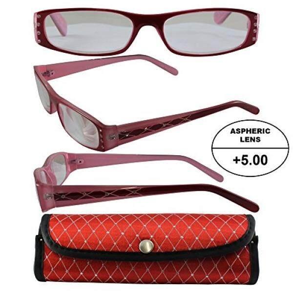 Wanita Tinggi Bertenaga Kacamata untuk Membaca: Merah dan Bingkai Merah Muda dan Yang Sesuai dengan Kasus + 5.00 Pembesaran Aspherical Lensa/dari Amerika Serikat