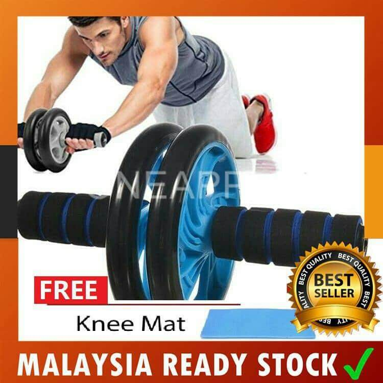 Heavy Duty Double Wheel AB Roller Fitness Gym Equipment Free Knee Mat