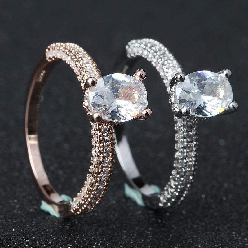 925 Sterling 14K Gold Filled White Diamond Ring Engagement Bridal Wedding( Silver)