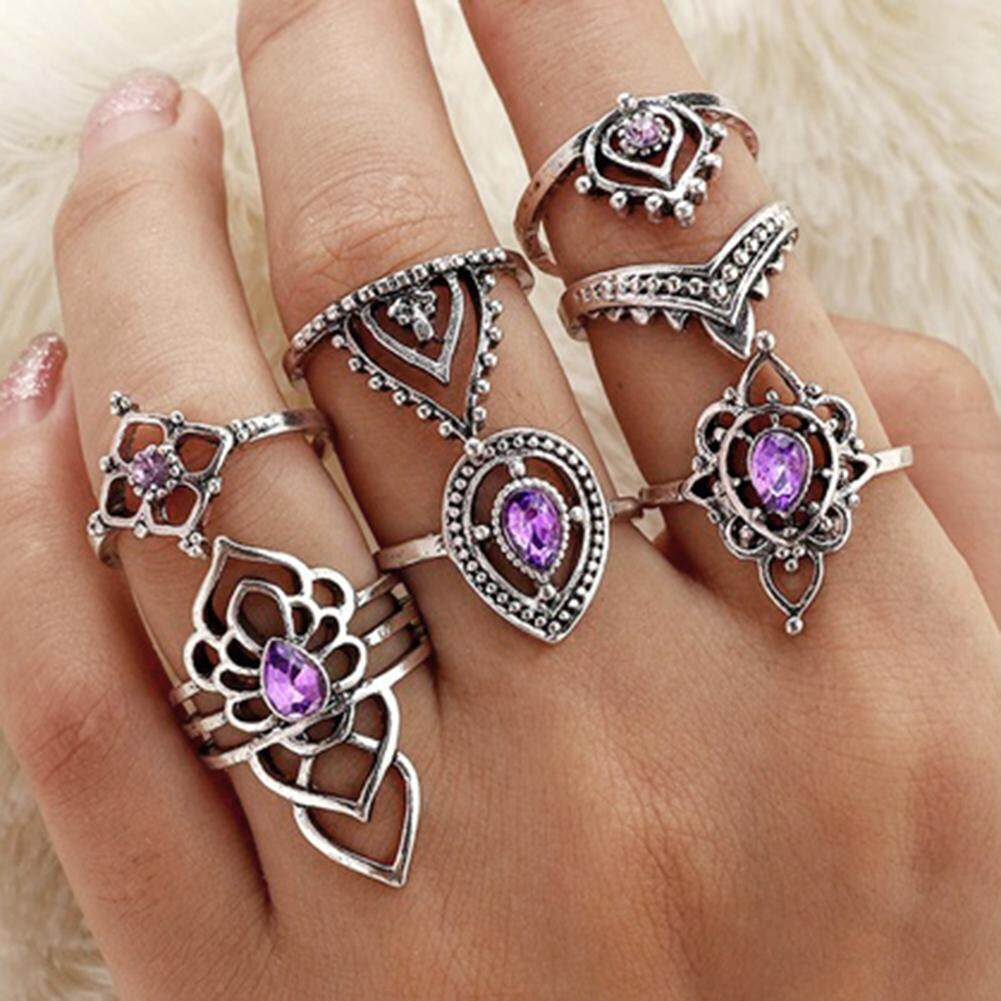 Sanwood® 7Pcs/Set Retro Boho Hollow Flower Purple Rhinestone Knuckle Rings Women Jewelry (