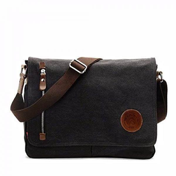 1c5f30de6a7c OURBAG Vintage Canvas Satchel Messenger Laptop Shoulder Crossbody Sling Bag  Black