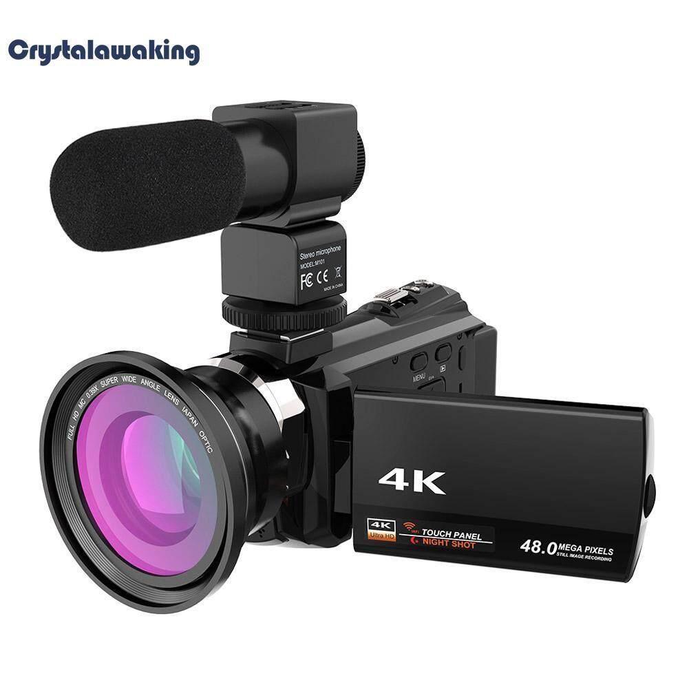 Wifi 4k 16x Zoom Digital Video Camera Camcorder+microphone+wide Angle Lens (black) - Intl By Crystalawaking.