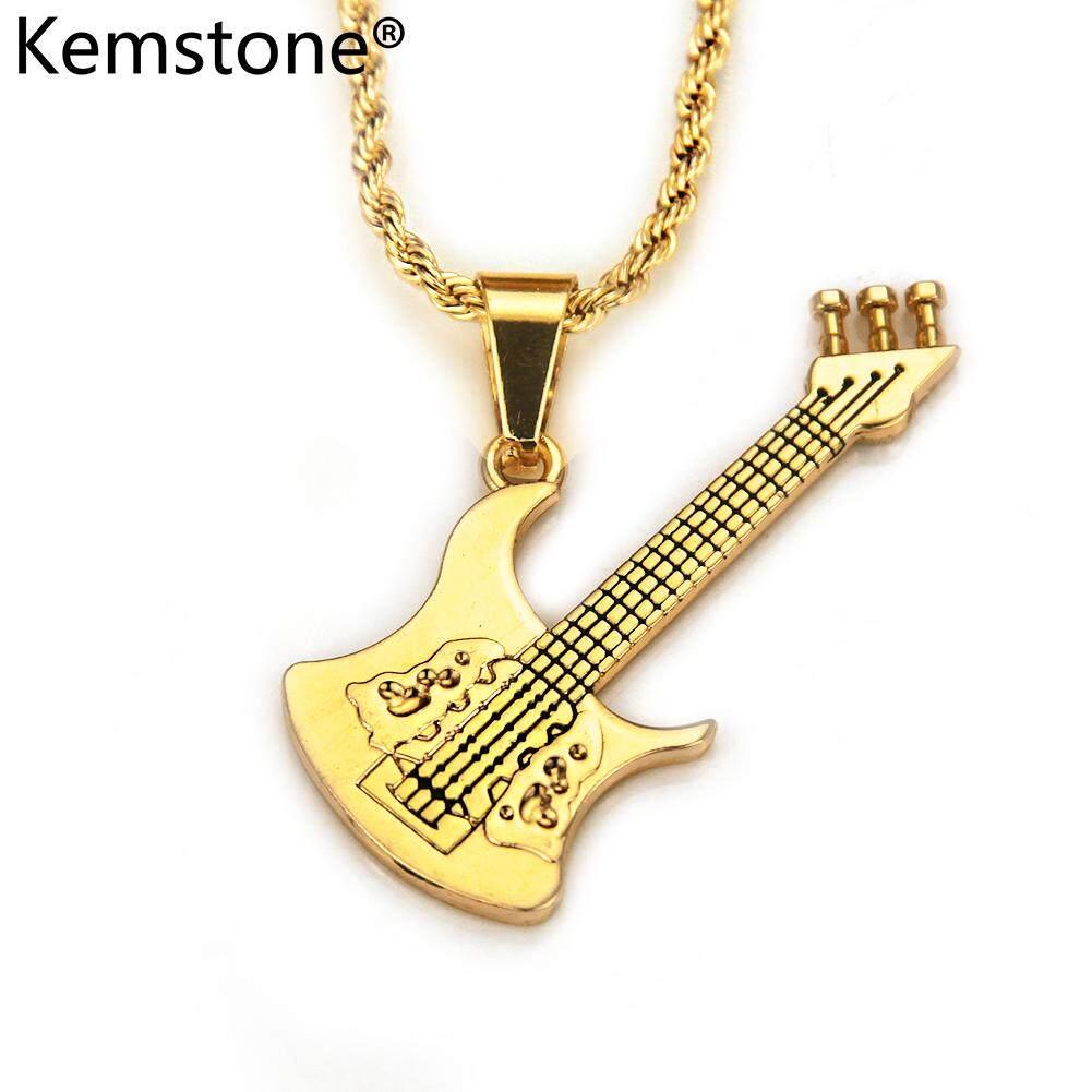 Kemstone Gold Berlapis Kreatif Musik Rock Kalung Liontin Gitar Perhiasan untuk Pria Gaya Modis