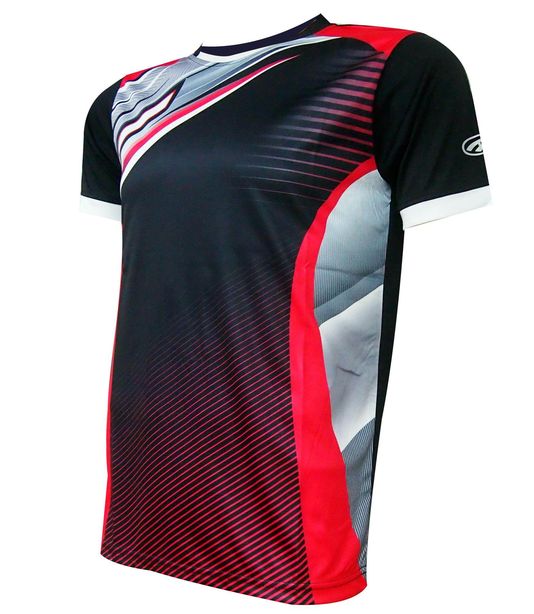 AMBROS Men's Poly Paper Transfer Jersey -Black/Red