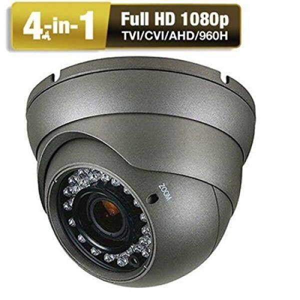 Kamera CCTV HD 1080 P 4-In-1 (TVI/AHD/CVI/CVBS) kamera Kubah Keamanan Analog 2.8mm-12 Lensa Varifokal Mm 100ft IR Indoor & Outdoor Tahan Cuaca IP66 (Abu-abu)-Intl