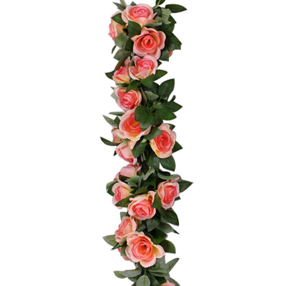DS-Mart 7.55FT Artificial Flowers Garland (1 Pack), Rose Vine Fake