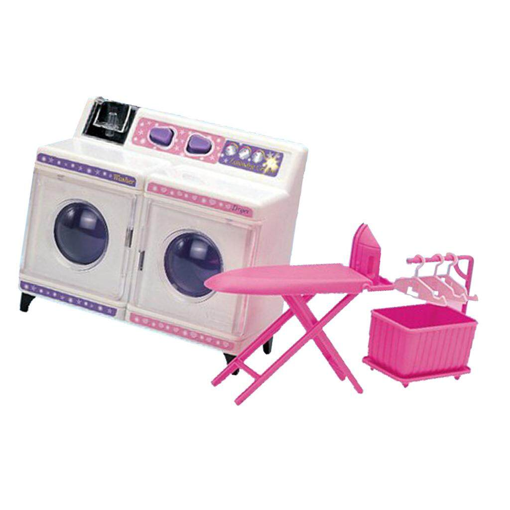 BolehDeals Plastic Washing Machine Play Set Home Appliances and Accessories  for Barbie Doll House Kids Pretend 35cc60071f