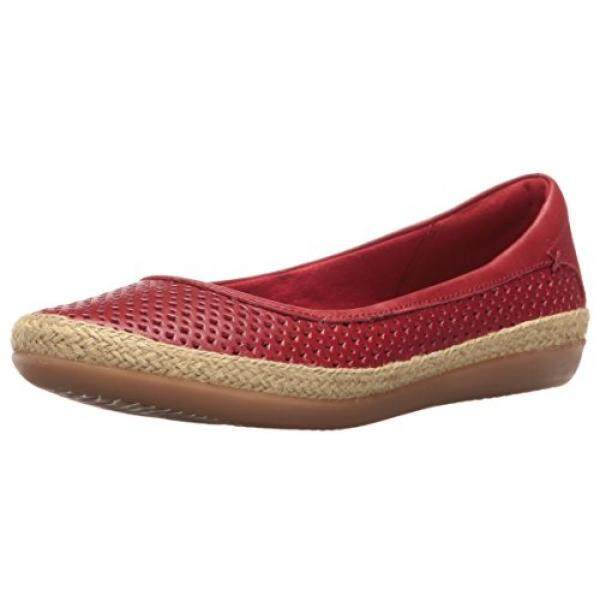 Clarks Womens Danelly Adira Ballet Flat, Red Leather, US - intl