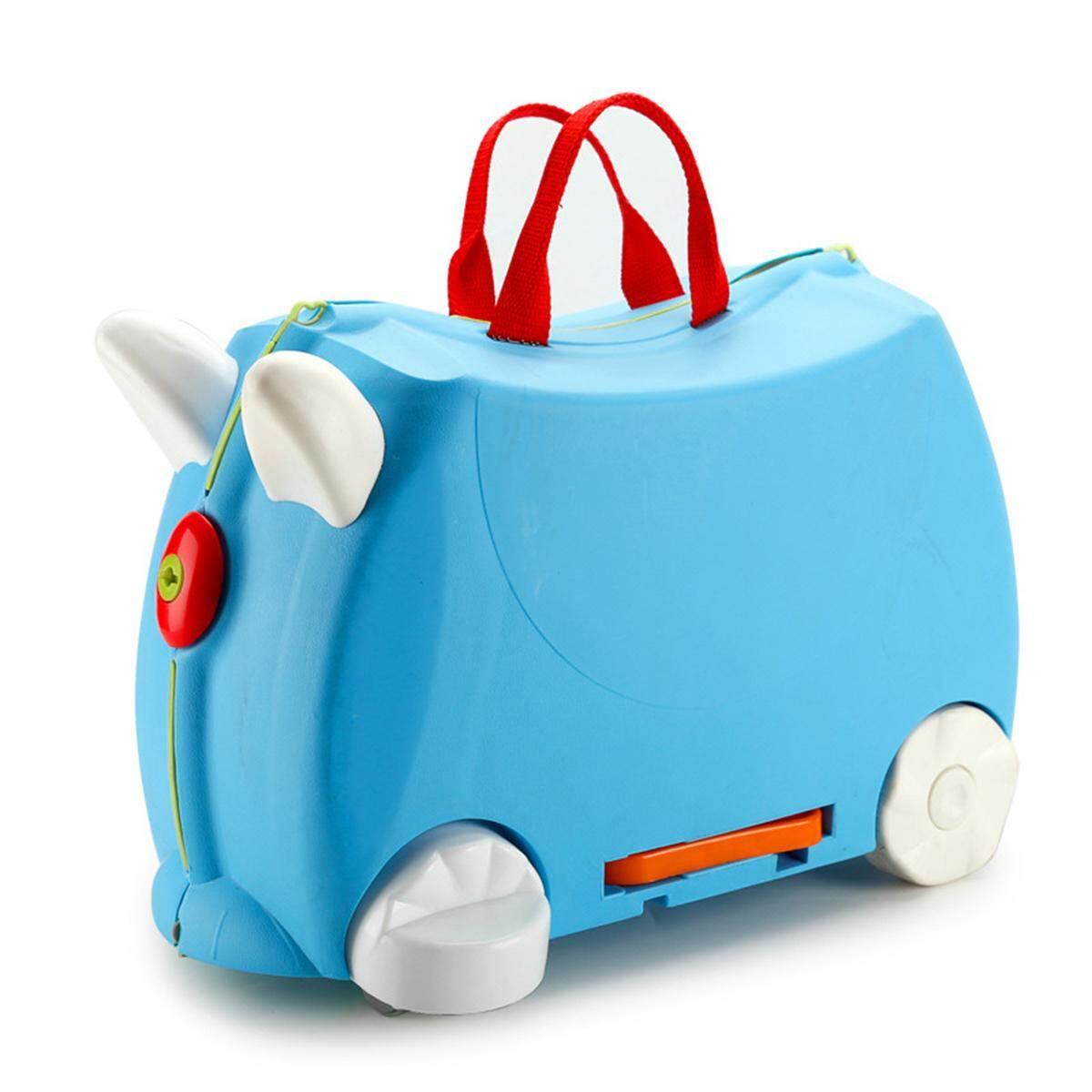 Ride On Suitcase Toy Box Kids Children Travel Luggage 3 Colour Pink Blue HQLU577