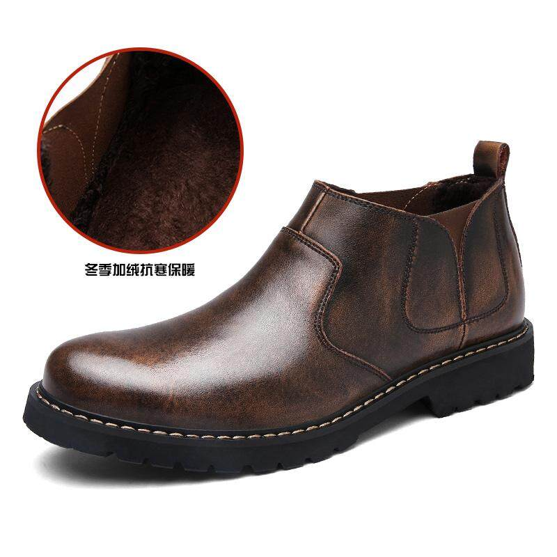 Europe And America Vintage Leather Men s Boots England Chelsea Boots  Leather Boot Worker Boot Trainers Hi 065162dbd3