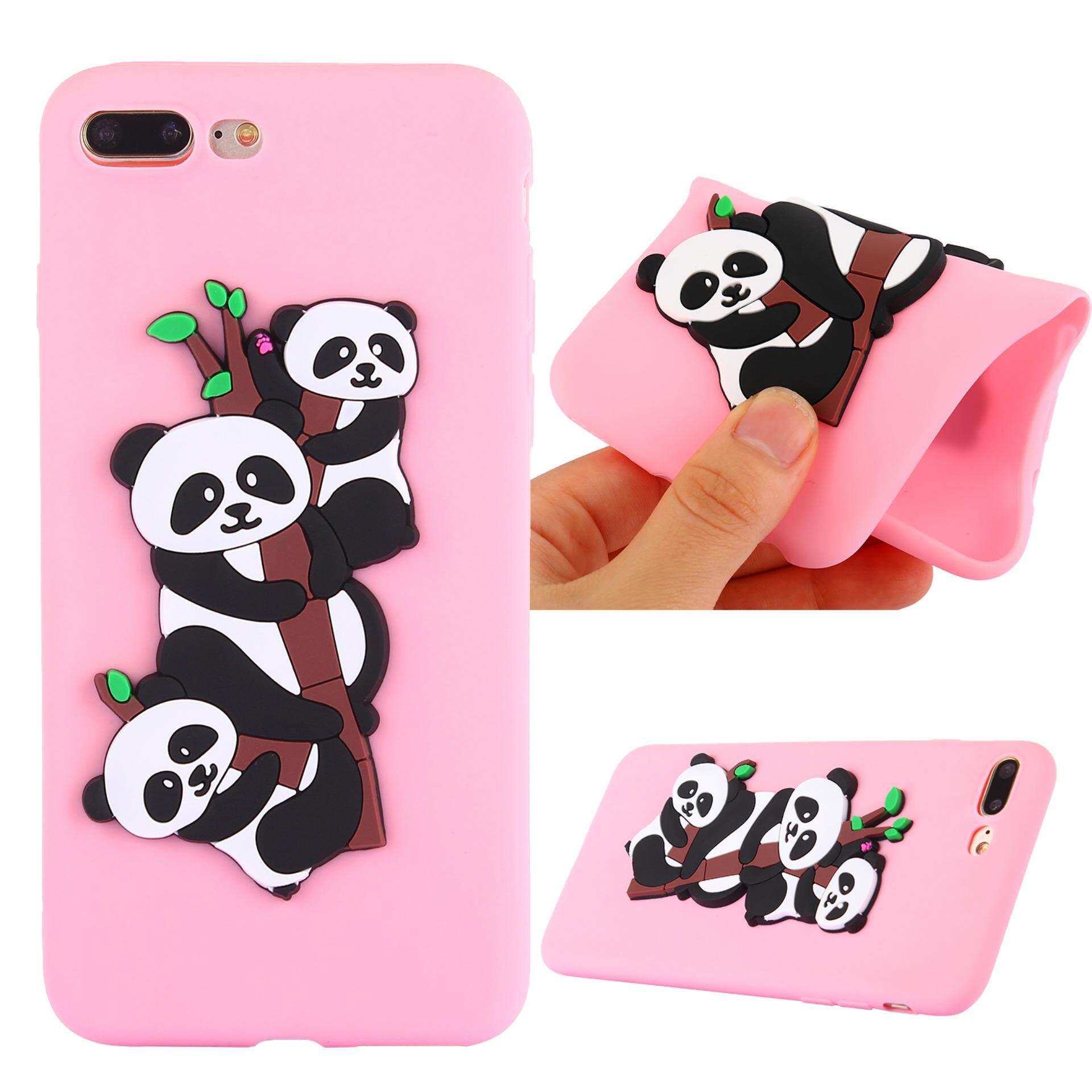 """For Apple iPhone 7 Plus/8 Plus 5.5"""" Case 3D Cute Pandas Pattern Rubber"""