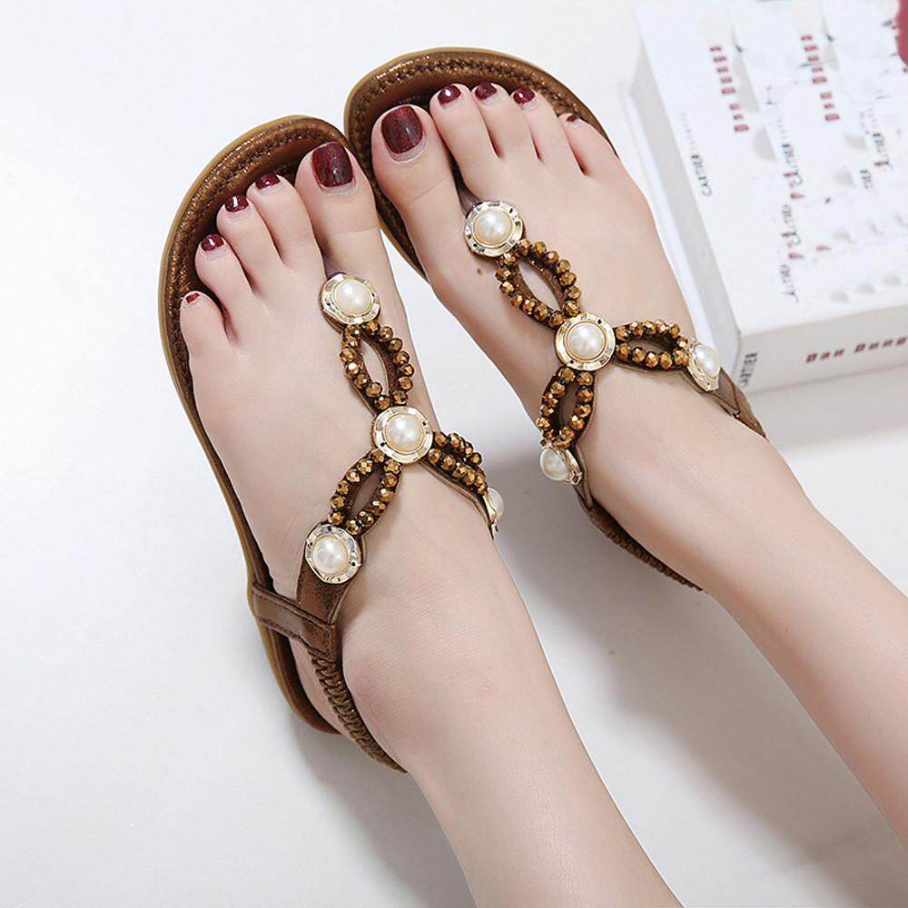 Women Bohe Rhinestone Fashion Flat Large Size Casual Sandals Beach Shoes CO/35 - intl