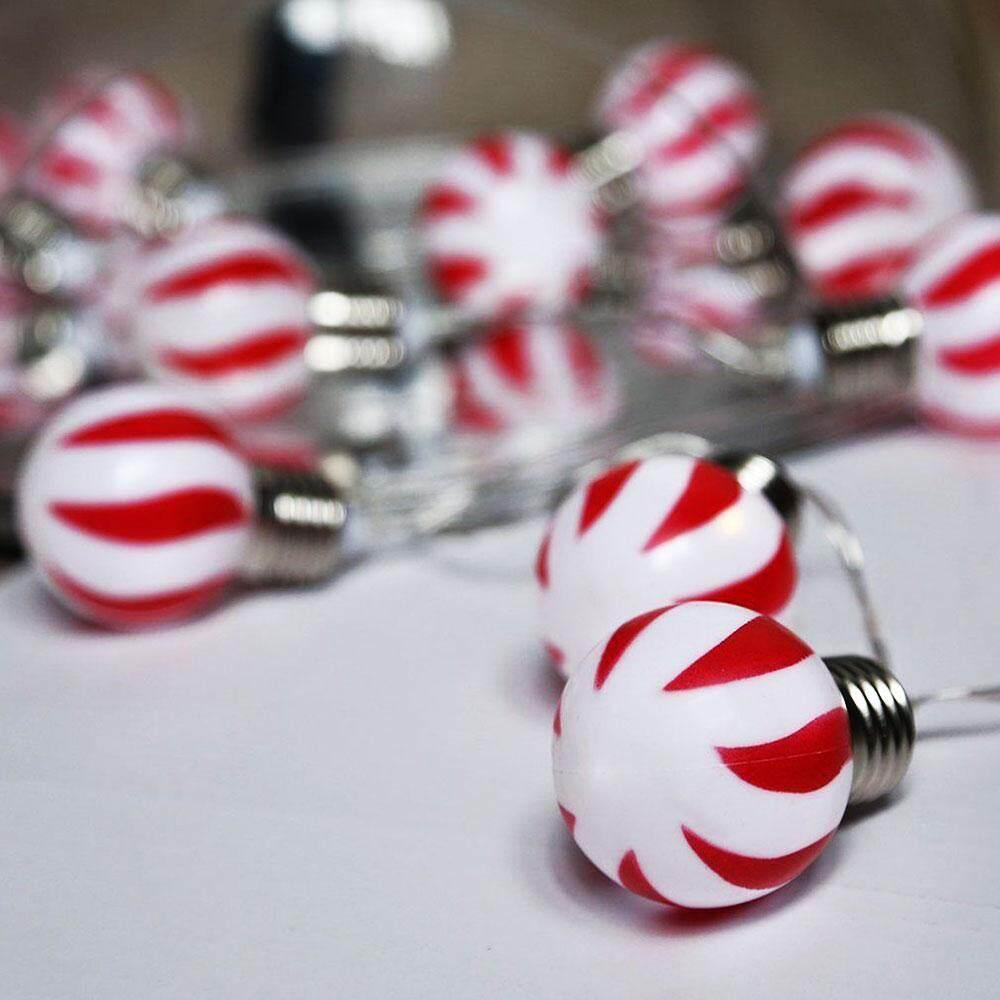 Ball Shape Beautiful Battery Powered Red White Stripe Outdoor Decor Fairy Lights Light String Singapore
