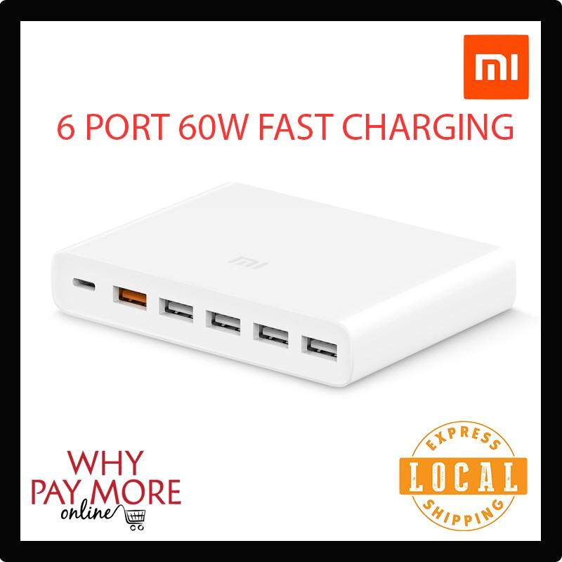Original Xiaomi Mi USB-C 60W Charger Type-C & USB-A 6-Port output dual QC 3.0 Quick Charger