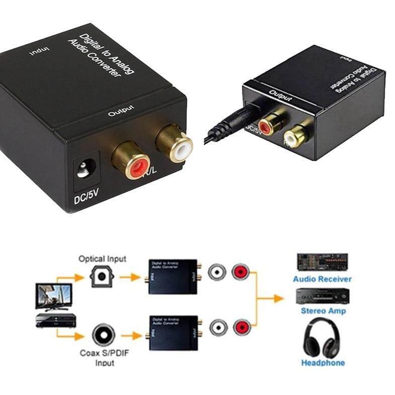 Digital Coax To *Analog Audio Cable Converter Adapter RCA L/R Accessories